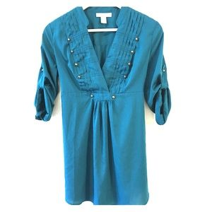Motherhood Maternity Teal Tunic Top Size Small